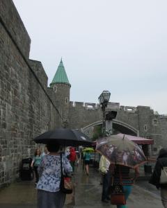 Entering Quebec City in the rain