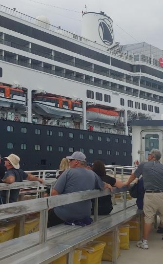 The tender ferrying passengers ashore